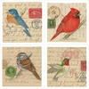 Set of 4 Birds on Letters Stone Coasters