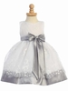 Silver Embroidered Organza Spring Dress