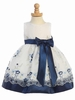Navy Embroidered Organza Spring Dress