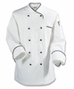 White/Black Euro-Style Chef Coat