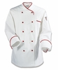 White/Red Euro-Style Chef Coat