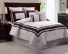 Ivory/Plum Luxury Bedding Ensemble