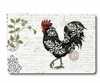 Large Damask Roosters Glass Cutting Board