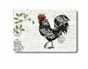 Small Damask Roosters Glass Cutting Board