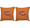 Orange Floral Puzzle Throw Pillows Set