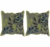 Khaki & Lime Leaves Throw Pillows Set