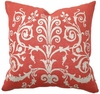 Coral Red Scroll Throw Pillow