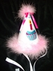 Cupcake Birthday Hat with Pink Trim