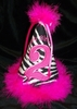 Zebra/Hot Pink Maribou Birthday Hat
