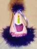 Cupcake Birthday Hat with Purple Trim