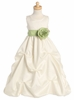 Ivory Gathered Organza Dress