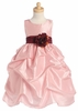 Pink Sleeveless Gathered Taffeta Dress