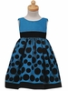 Blue Flocked Polkadot Holiday Dress