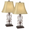Set of Two Iron Scroll Table Lamps