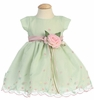 Mint Embroidered Organza Baby Dress