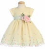Yellow Embroidered Organza Baby Dress