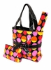 Black Retro Dots Diaper Tote Bag