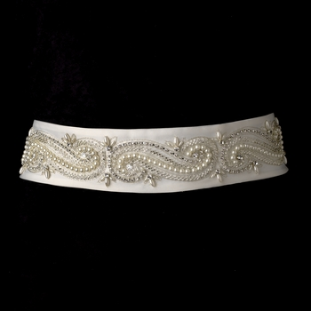 * Pearl & Rhinestone Wedding Sash Bridal Belt 16