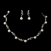 Antique Silver Diamond White Necklace & Earrings Bridal Jewelry Set 8907