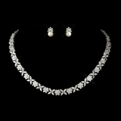 Antique Silver Clear Necklace 8104 & Earrings 9084 ***Discontinued***