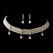 Gold Ivory Chocker Necklace & Earrings Bridal Jewelry Set 133***Only 1 Left****