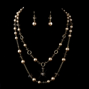 Gold Tan Tone Pearl and Crystal Cascade Necklace & Earrings Bridal Jewelry Set 1040