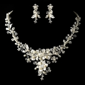 Silver Diamond White Freshwater Pearl, Crystal & Rhinestone Necklace & Earrings Jewelry Set 9696