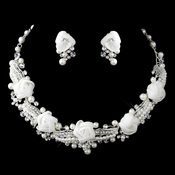 Silver Ivory Pearl, Rhinestone & Swarovski Crystal Necklace & Earrings Flower Jewelry Set 9613