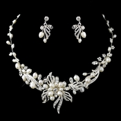 Silver Freshwater Pearl & Rhinestone Necklace & Earrings Jewelry Set 9312