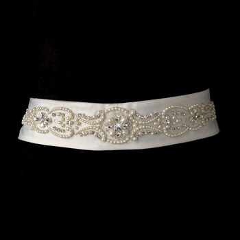* Pearl & Rhinestone Accented Wedding Sash Bridal Belt 18
