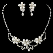 Silver Freshwater Pearl & Rhinestone Necklace & Earrings Jewelry Set 9304