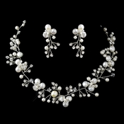 Silver Freshwater Coin Pearl, Swarovski Crystal Bead and Rhinestone Necklace & Earrings Jewelry Set 9313