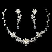 Silver Freshwater Pearl, Swarovski Crystal Bead and Rhinestone Flower Leaf Necklace & Earrings Jewelry Set 9303***Discontinued***