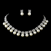 Antique Silver Ivory Pearl & Flower Rhinestone Necklace & Earrings Jewelry Set 12868