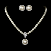 Elegant Victorian Style Silver Ivory Pearl Bridal Necklace Earring Set 71678***Only 3 Left***Discontinued