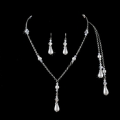 Silver White AB Necklace Earring Set 8433