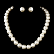 Silver White Necklace Earring Set 3929