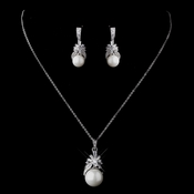 Stunning Silver Clear CZ & Diamond White Pearl Bridal Jewelry Set 8595