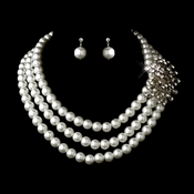 Silver White Necklace Earring Set 12508