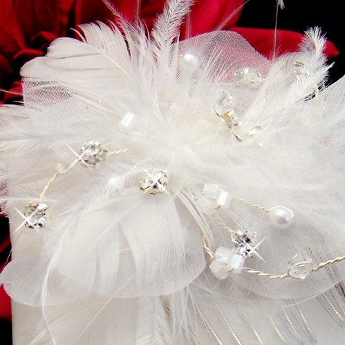 Crystal & Pearl Feather Bridal Comb (1 Piece In Stock)
