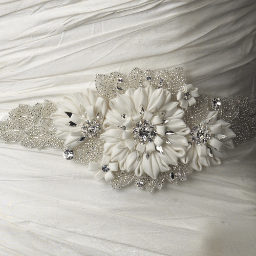 Beaded Rhinestone Ivory Flower Sash Belt 1993***Discontinued***
