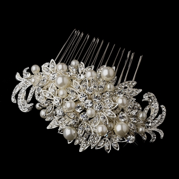Fabulous Crystal &  Pearl Vintage Bridal Comb 752 (Silver or Antique Silver)