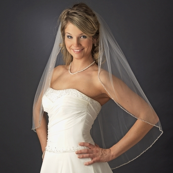 Single Layer Fingertip Length Bridal Wedding Veil with Pearl & Beaded Edge V 1834