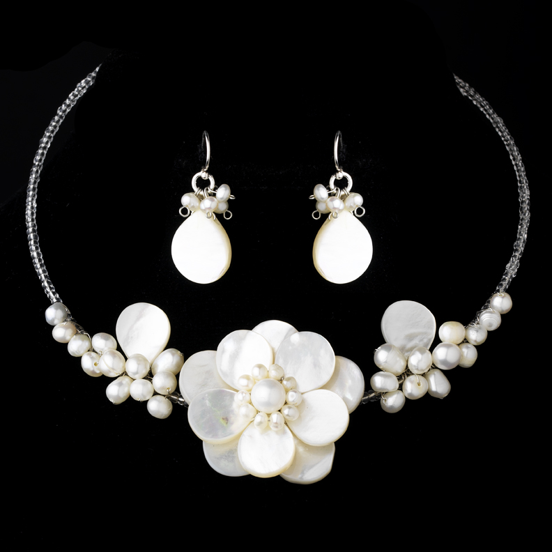 Freshwater Pearl Shell Necklace Earring Set Ne 8253