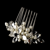 Silver Diamond White Pearl & Rhinestone Bridal Comb 601***Discontinued***