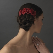 Charming Red Flower Bridal Hair Comb 4647