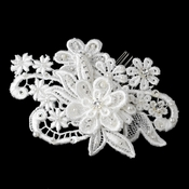 * Diamond White Pearl, Glass  Bead Fabric Flower Hair Comb 9722