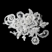 Diamond White Pearl, Rhinestone & Bugle Bead Embroidered Mesh Fabric Flower Hair Comb 9723