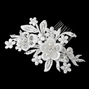 Diamond White Pearl, Swarovski Crystal Rhinestone & Bugle Beaded Fabric Flower Hair Comb 9724***Discontinued***