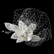 Freshwater Pearl, Swarovski Crystal, Bead & Sequence Diamond White Flower Sheer Organza Fabric Hair Comb 9725 w/ Tulle Russian Veiling
